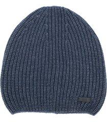 boss hugo boss ribbed-knit beanie hat - blue
