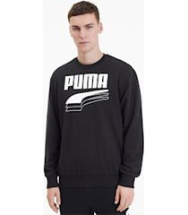 rebel bold crew neck sweater voor heren, zwart, maat m | puma