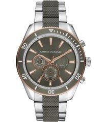 ax armani exchange men's chronograph enzo two-tone stainless steel bracelet watch 46mm