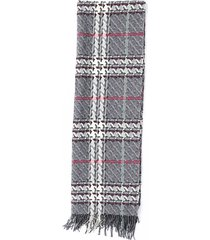 burberry houndstooth wool cashmere scarf gray/multicolor sz: