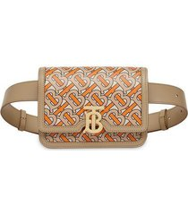 belted monogram print leather tb bag