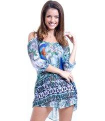 vestido 101 resort wear saãda ombro a ombro evase crepe estampado araras - azul - feminino - dafiti