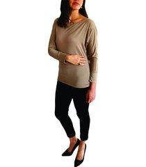 blusa taupe manga larga con puño  y cuello redondo s