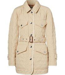 burberry diamond-quilt belted jacket - neutrals
