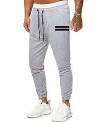 drawstring striped print tapered sports pants