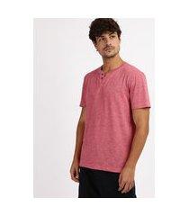 camiseta masculina básica flamê manga curta gola portuguesa vermelha