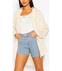 tall oversized linnen look blouse, sand