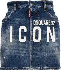 d squared icon denim mini skirt