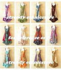 10pcs wholesale lot vintage silk magic wrap skirt halter tube maxi dress + dvd