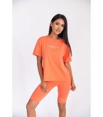 komplet t-shirt + kolarki w pomarańczowym kolorze