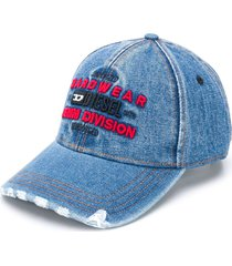 diesel destroyed denim baseball cap - blue