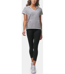 marc new york performance women's short sleeve striped pullover hoodie