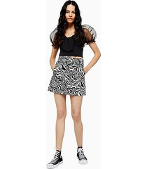 zebra print belted denim mini skirt - monochrome
