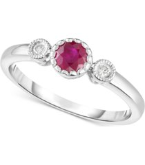 certified ruby (3/8 ct. t.w.) & diamond accent ring in 14k white gold