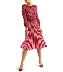 women's boden rita pleated knit dress, size 4 - brown