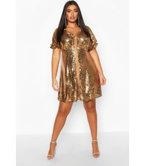 plus sequin puff sleeve skater dress, gold