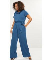 lane bryant women's cowl-neck wide-leg jumpsuit 10/12p blue wing teal