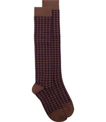 altea houndstooth print mid-length socks - brown
