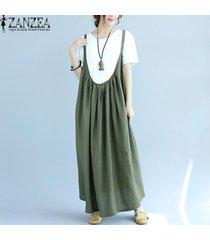zanzea vestido plisado con tirantes mujer sin mangas tirantes espagueti vestido largo liso -verde