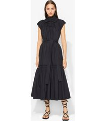 proenza schouler poplin gathered tiered dress black 10
