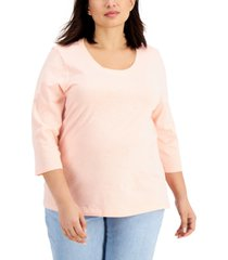 style & co plus size cotton scoop-neck t-shirt, created for macy's