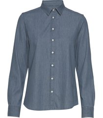 d1. luxury chambray overhemd met lange mouwen blauw gant
