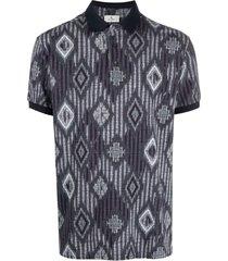etro diamond knit polo shirt - blue