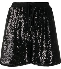alchemy sequinned straight-leg shorts - black
