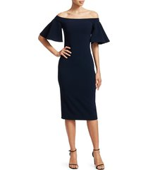 theia off-the-shoulder crepe midi dress - navy - size 6