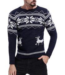 christmas deer pattern pullover sweater