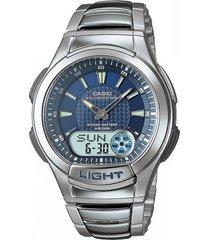 reloj casio aq_180wd_2av plateado acero inoxidable