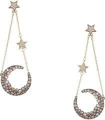 eye candy la women's luxe collection 18k goldplated & cubic zirconia moon & stars dangle earrings