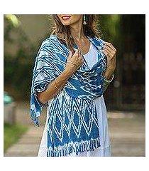 rayon shawl, 'royal blue silhouettes' (guatemala)