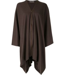 issey miyake pre-owned zip-up poncho - brown