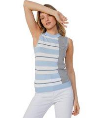 regata amaro tricot decote u azul claro - azul - feminino - dafiti