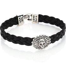 braided leather concho bracelet