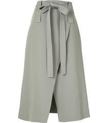 dion lee belted wrap midi skirt - green
