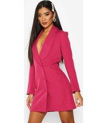 button down longline blazer dress, hot pink