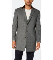 tallia men's slim-fit gray windowpane with velvet trim overcoat