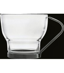 conjunto de 6 xícaras de vidro p/café c/haste de metal duna 85ml