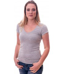 claesens women t-shirt v-neck s/s grey ( cl 8010 )