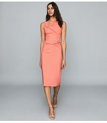 reiss alex - ruched bodycon dress in coral, womens, size 14