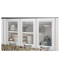 armário aéreo cozinha 3 portas vidro 1 prateleira premium itatiaia branco ipv3 120