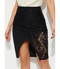 falda de cintura media con diseño hueco negro