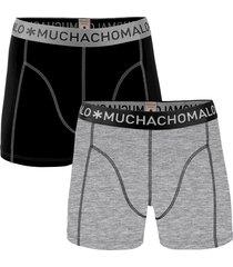 muchachomalo men 2-pack boxer solid/solid zwart