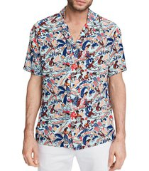 scotch & soda hawaii button-up camp shirt, size medium in blue multi at nordstrom