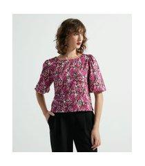 blusa manga curta bufante com estampa floral | cortelle | rosa | p