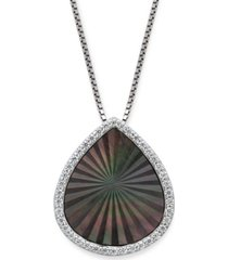 "black mother of pearl 15x13mm and cubic zirconia pear shaped pendant with 18"" chain in sterling silver"
