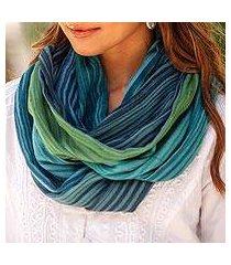 cotton infinity scarf, 'seaside breezes' (thailand)