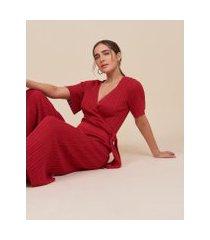 amaro feminino macacão tricot com amarração, vermelho